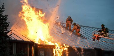 fire ravages a house